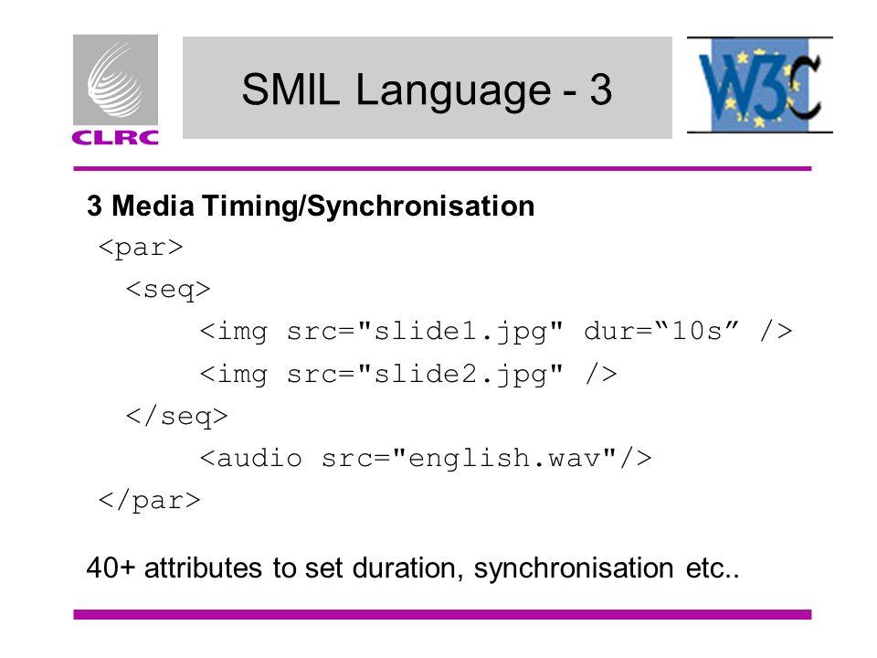 SMIL Language - 3 3 Media Timing/Synchronisation 40+ attributes to set duration, synchronisation etc..