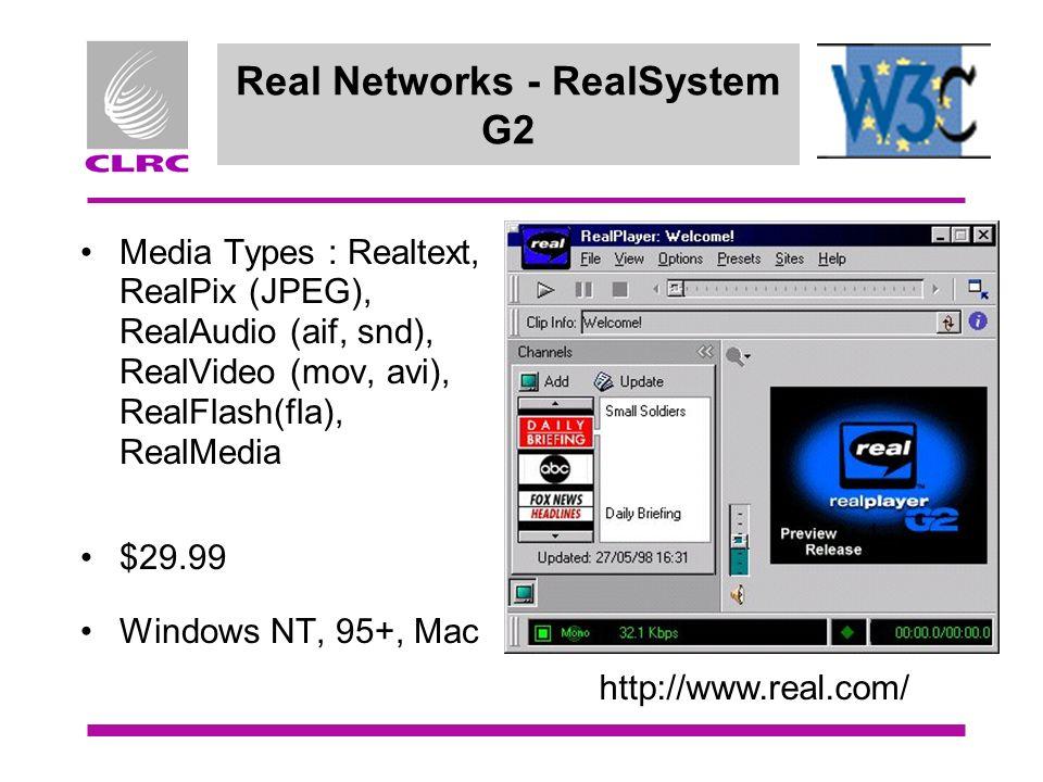 Real Networks - RealSystem G2 Media Types : Realtext, RealPix (JPEG), RealAudio (aif, snd), RealVideo (mov, avi), RealFlash(fla), RealMedia $29.99 Win