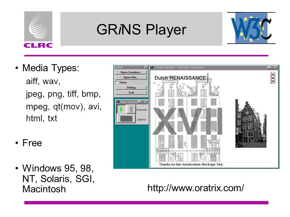 GRiNS Player Media Types: aiff, wav, jpeg, png, tiff, bmp, mpeg, qt(mov), avi, html, txt Free Windows 95, 98, NT, Solaris, SGI, Macintosh http://www.o