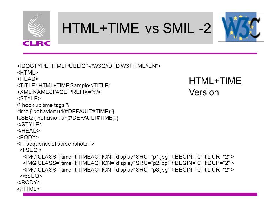 HTML+TIME vs SMIL -2 HTML+TIME Sample /* hook up time tags */.time { behavior: url(#DEFAULT#TIME); } t\:SEQ { behavior: url(#DEFAULT#TIME); } HTML+TIM