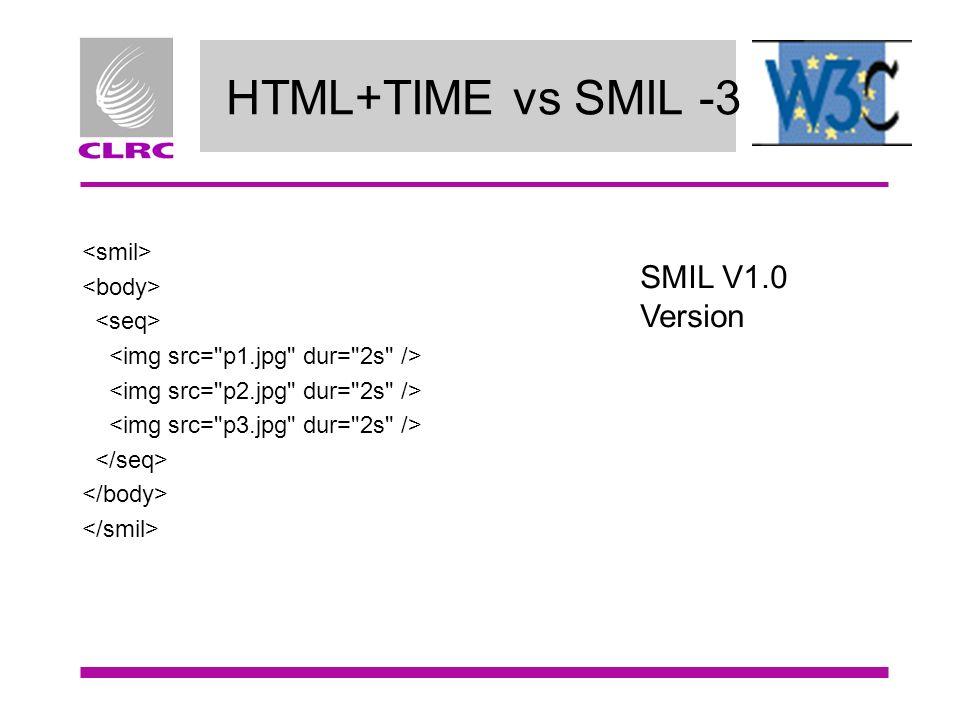 HTML+TIME vs SMIL -3 SMIL V1.0 Version