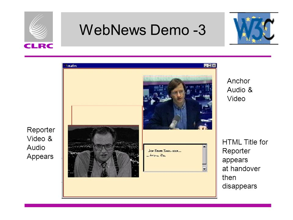 WebNews Demo -3 Anchor Audio & Video Reporter Video & Audio Appears HTML Title for Reporter appears at handover then disappears
