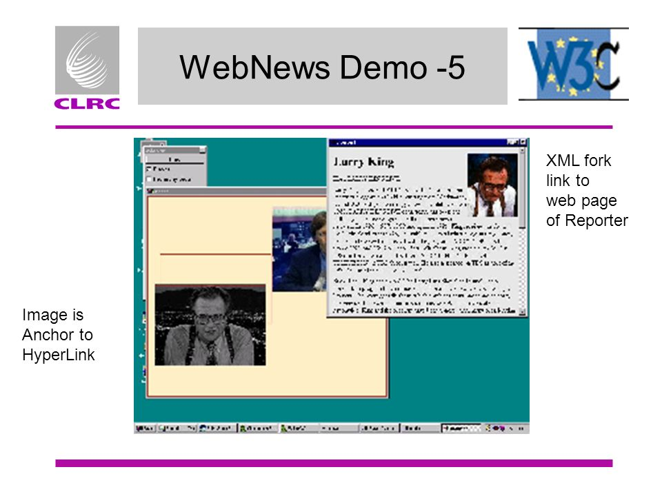 WebNews Demo -5 Image is Anchor to HyperLink XML fork link to web page of Reporter