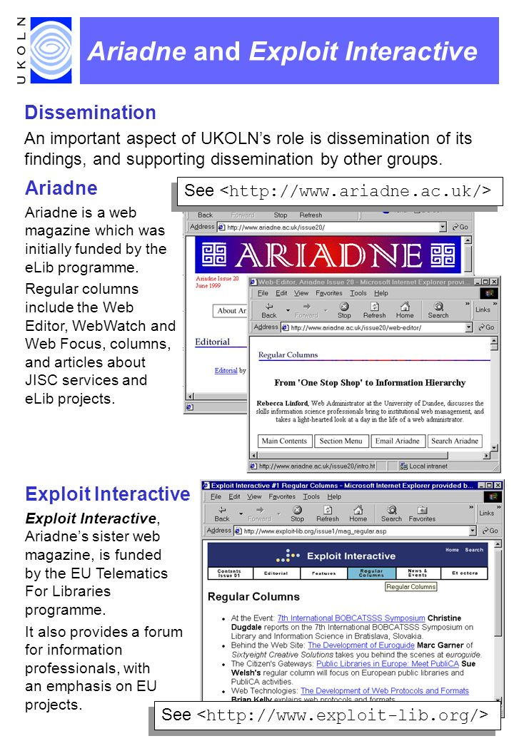 Ariadne and Exploit Interactive Dissemination An important aspect of UKOLNs role is dissemination of its findings, and supporting dissemination by oth