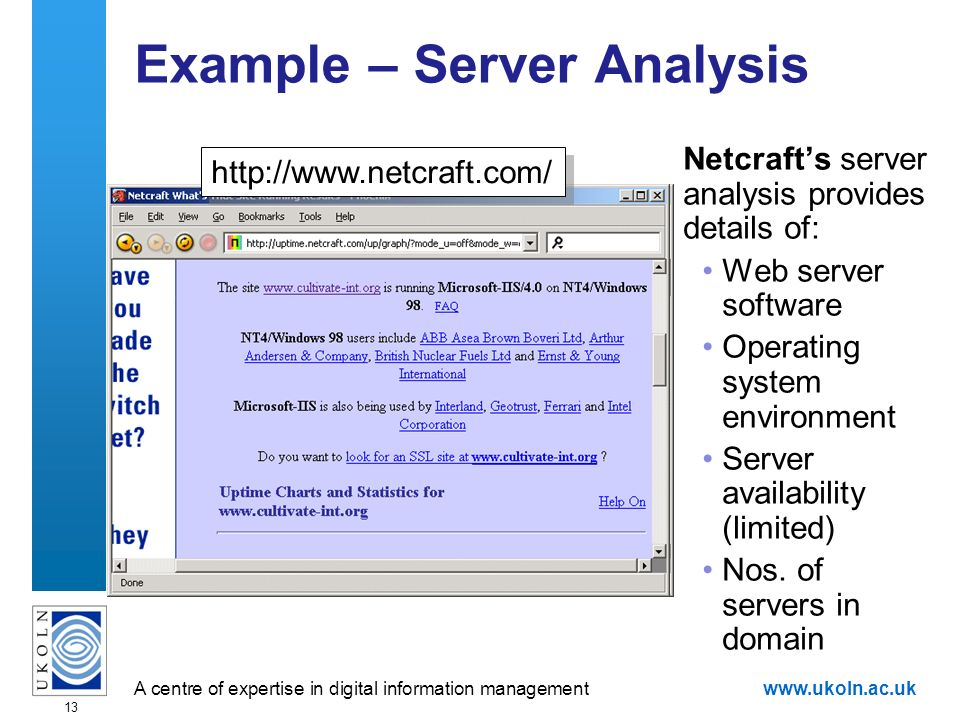 A centre of expertise in digital information managementwww.ukoln.ac.uk 13 Example – Server Analysis Netcrafts server analysis provides details of: Web server software Operating system environment Server availability (limited) Nos.