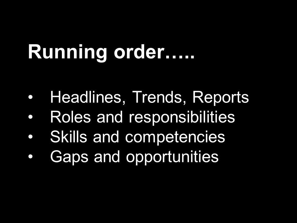 Running order…..