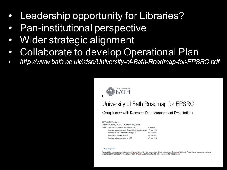 Leadership opportunity for Libraries.