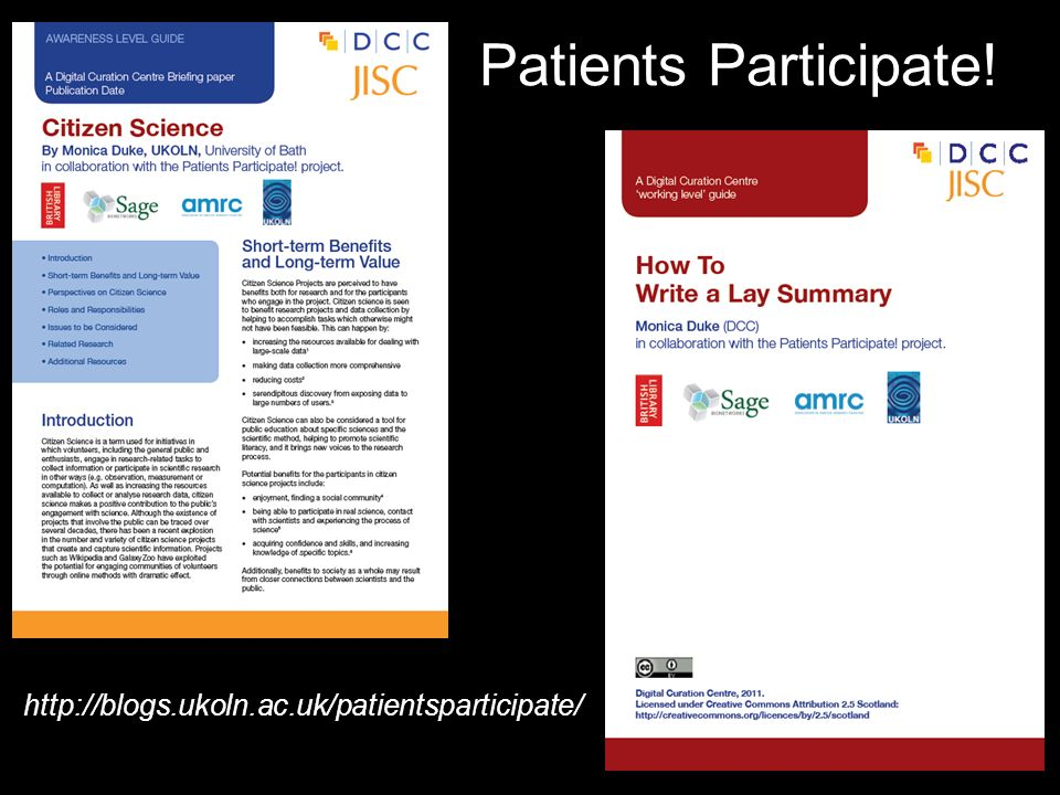 Patients Participate! http://blogs.ukoln.ac.uk/patientsparticipate/