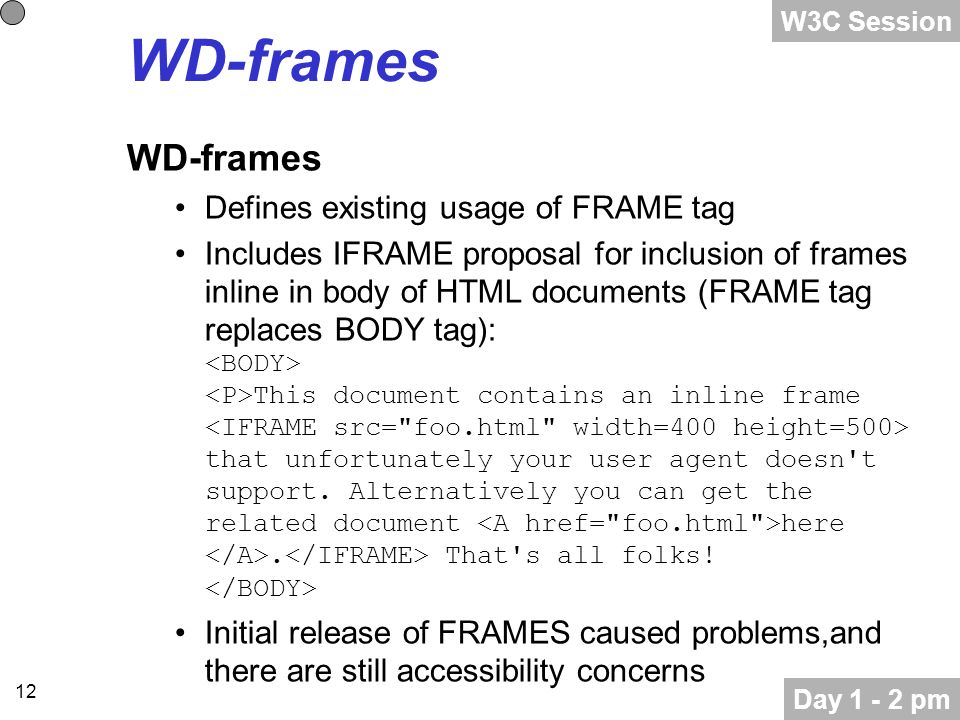 12 WD-frames Defines existing usage of FRAME tag Includes IFRAME proposal for inclusion of frames inline in body of HTML documents (FRAME tag replaces BODY tag): This document contains an inline frame that unfortunately your user agent doesn t support.