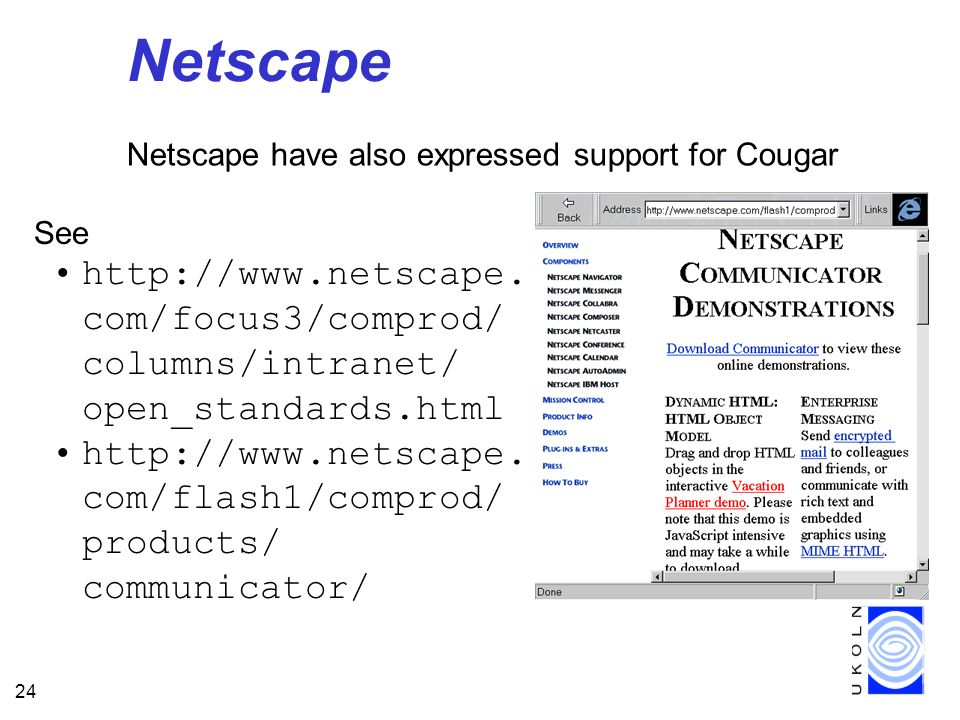 24 Netscape Netscape have also expressed support for Cougar See http://www.netscape.