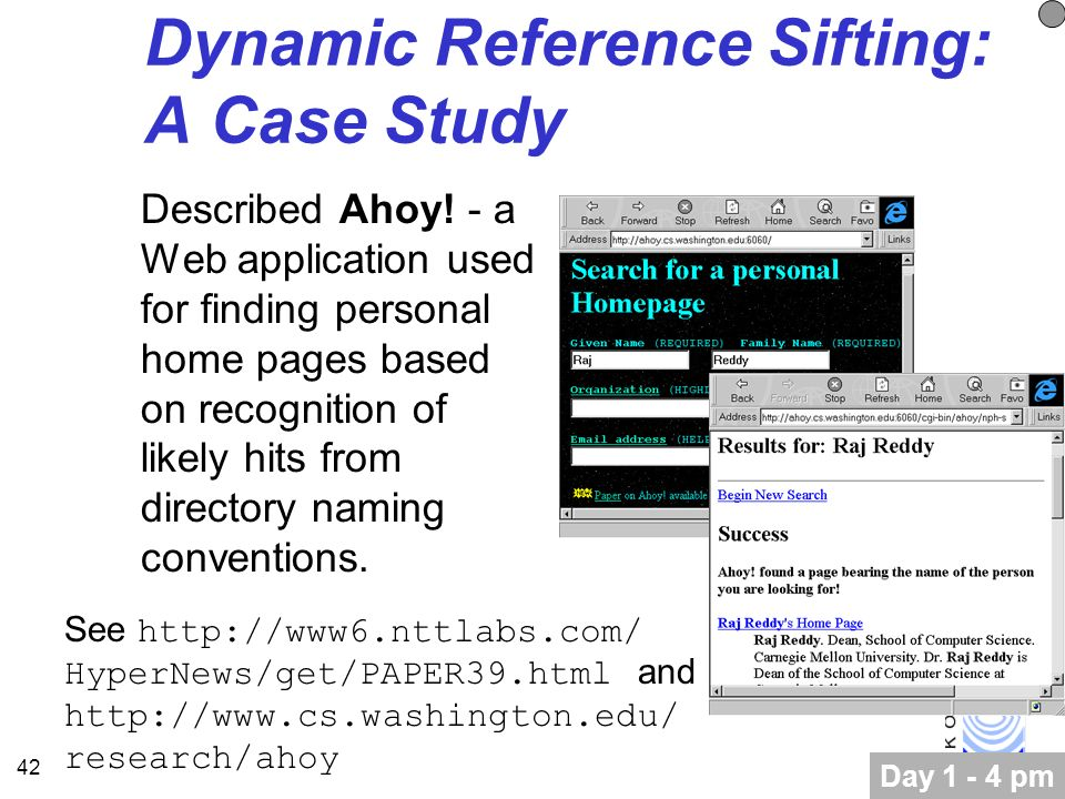 42 Dynamic Reference Sifting: A Case Study Described Ahoy.