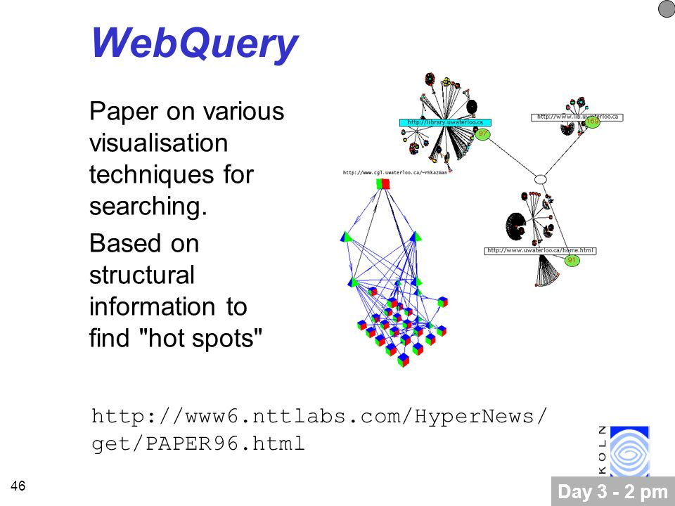 46 WebQuery Paper on various visualisation techniques for searching.