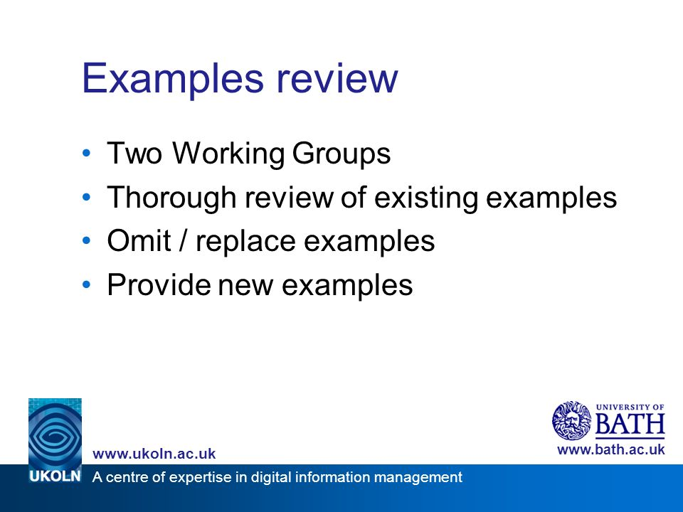 A centre of expertise in digital information management www.ukoln.ac.uk www.bath.ac.uk Examples review Two Working Groups Thorough review of existing