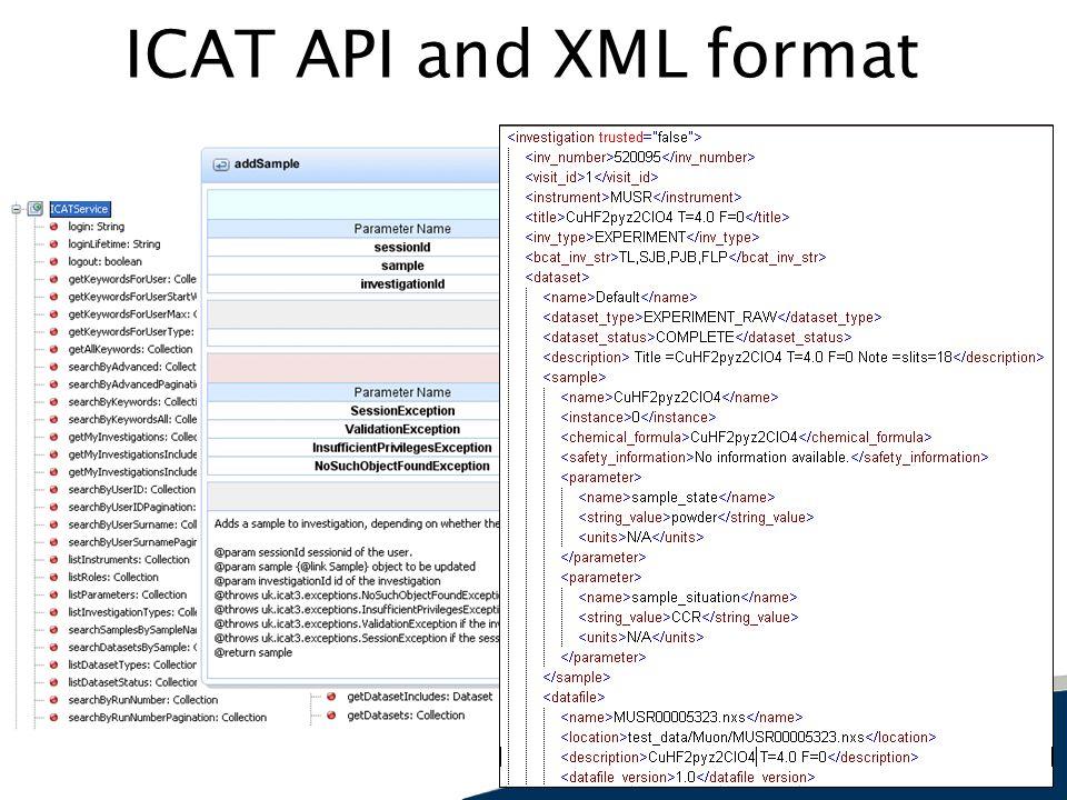ICAT API and XML format