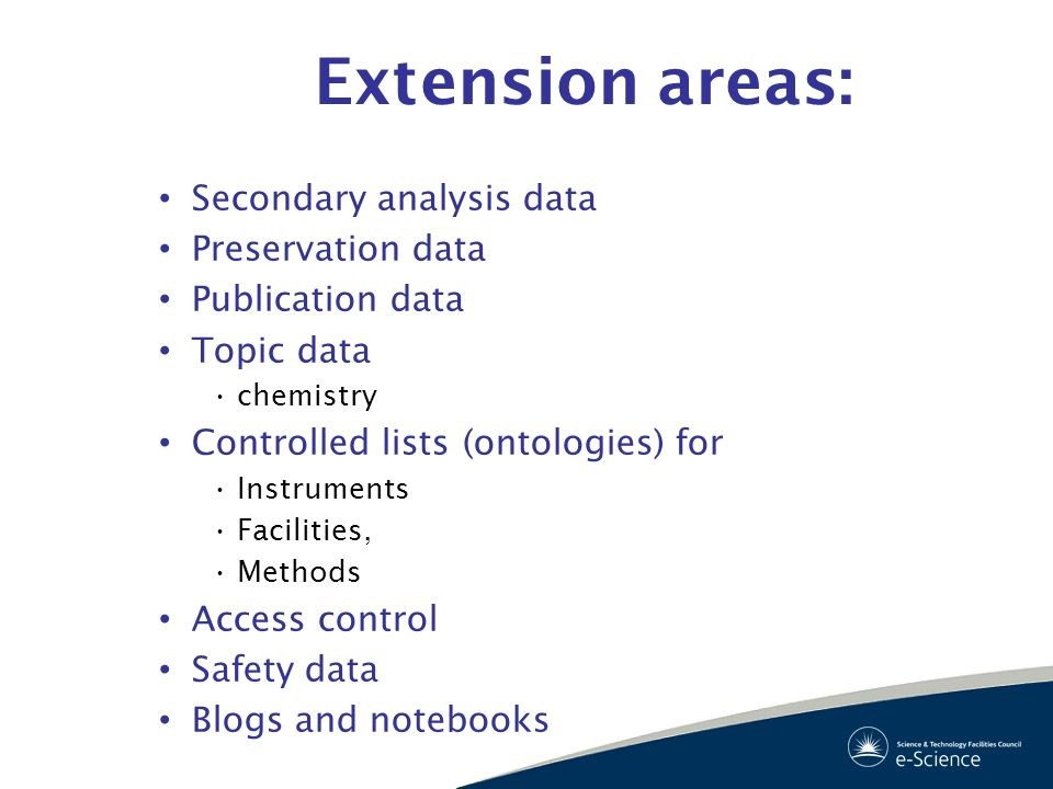 Extension areas: Secondary analysis data Preservation data Publication data Topic data chemistry Controlled lists (ontologies) for Instruments Facilit
