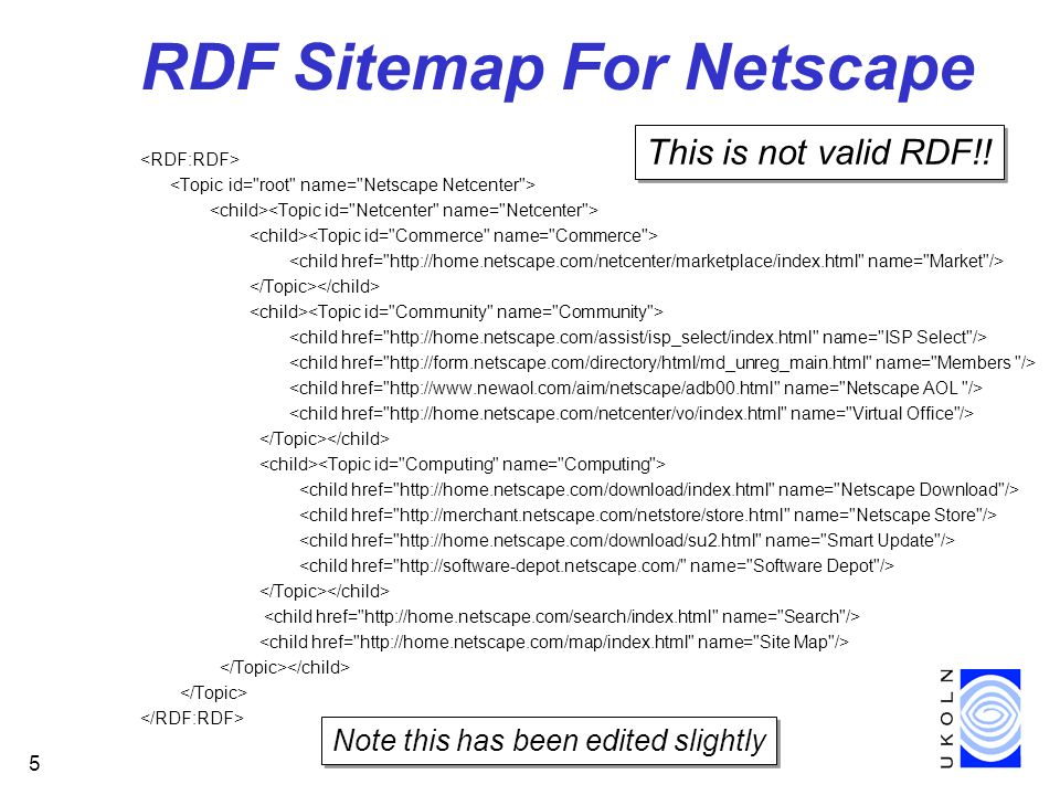 5 RDF Sitemap For Netscape Note this has been edited slightly This is not valid RDF!!