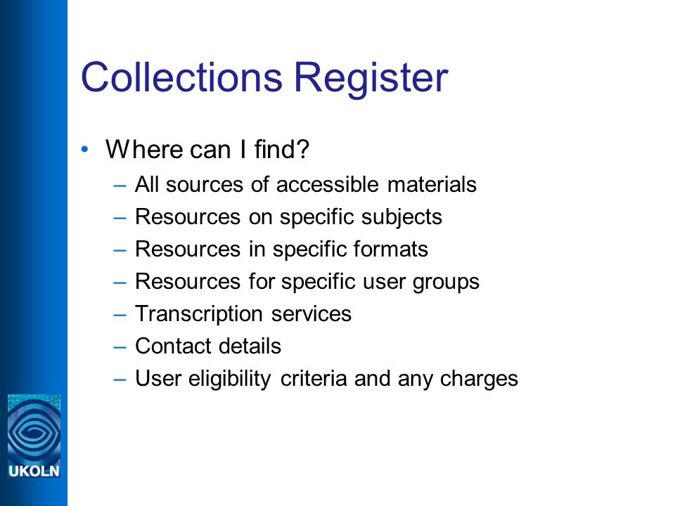 Collections Register Where can I find.