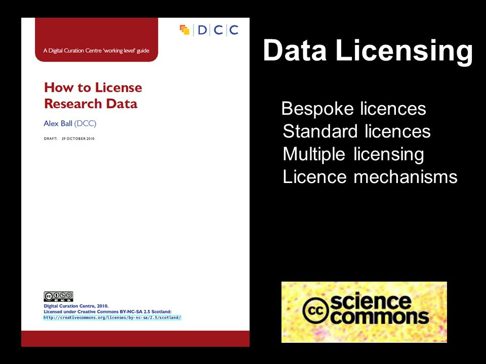 Data Licensing Bespoke licences Standard licences Multiple licensing Licence mechanisms