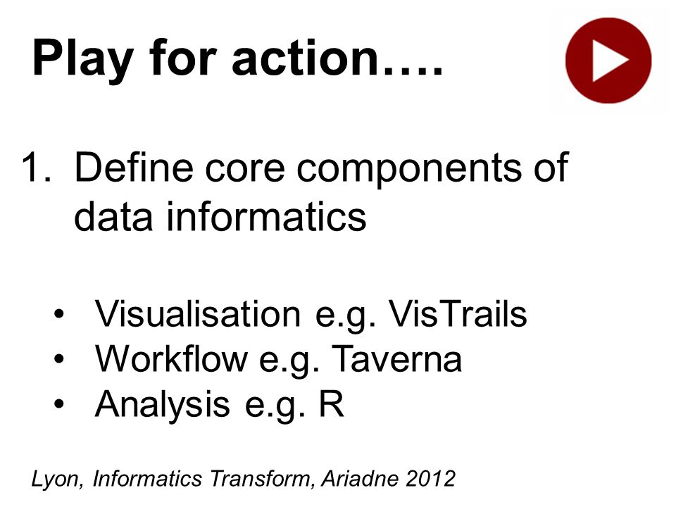 1.Define core components of data informatics Visualisation e.g. VisTrails Workflow e.g. Taverna Analysis e.g. R Play for action…. Lyon, Informatics Tr