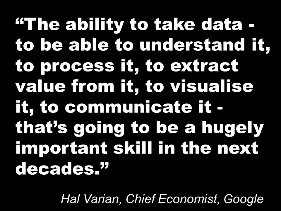 The ability to take data - to be able to understand it, to process it, to extract value from it, to visualise it, to communicate it - thats going to be a hugely important skill in the next decades.