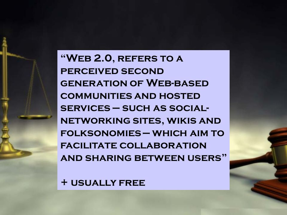 Web 2.0, refers to a perceived second generation of Web-based communities and hosted services such as social- networking sites, wikis and folksonomies