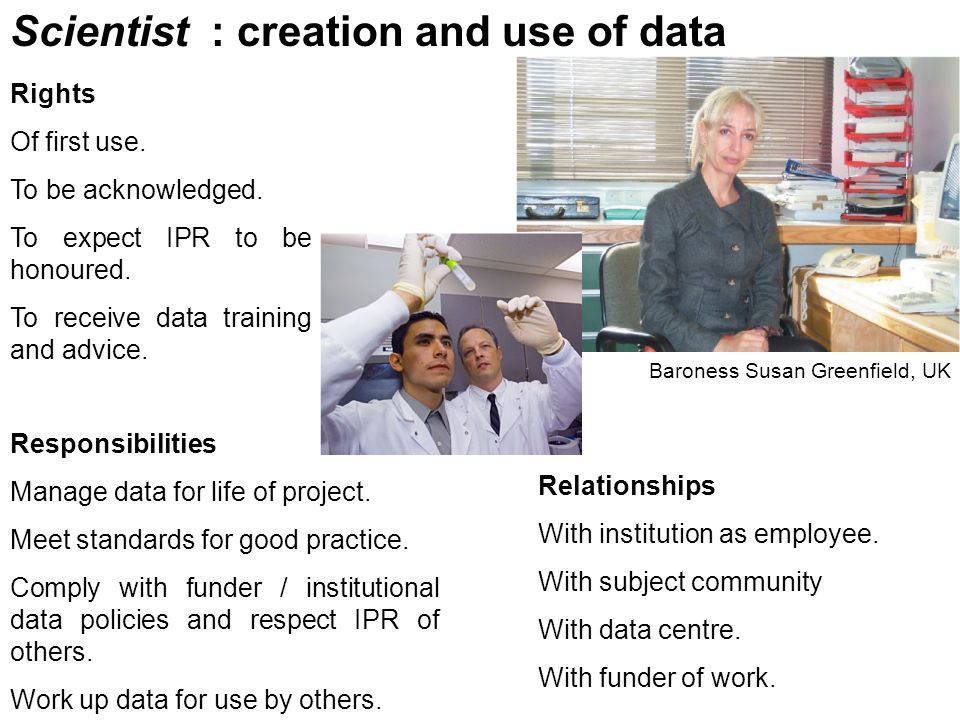 Scientist : creation and use of data Rights Of first use.