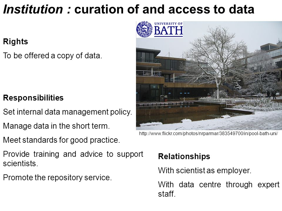 Institution : curation of and access to data Rights To be offered a copy of data. Responsibilities Set internal data management policy. Manage data in
