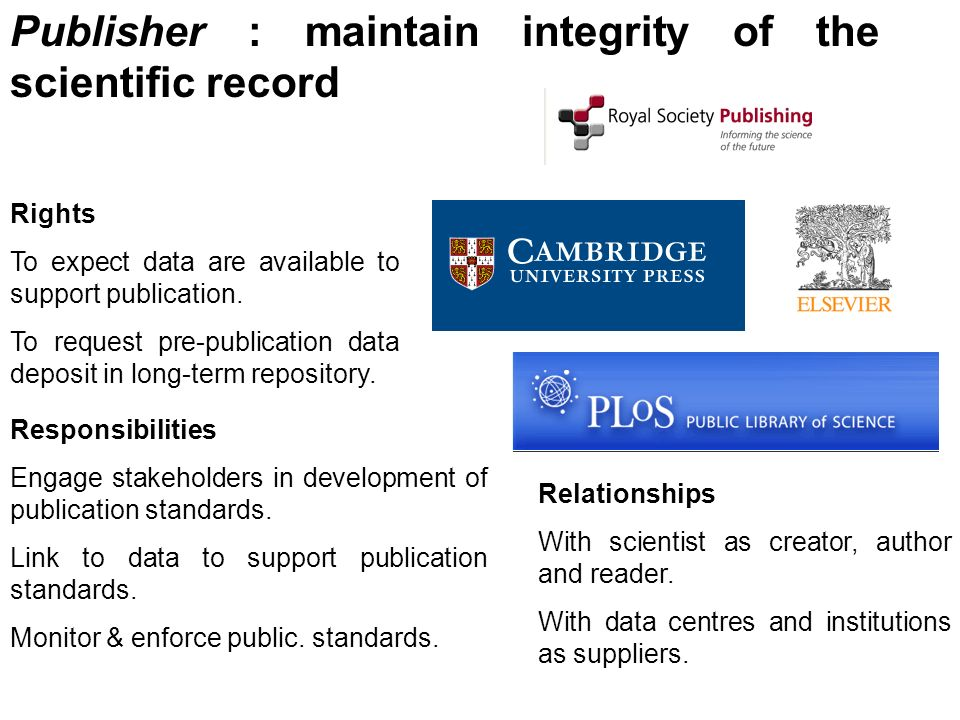 Publisher : maintain integrity of the scientific record Rights To expect data are available to support publication. To request pre-publication data de
