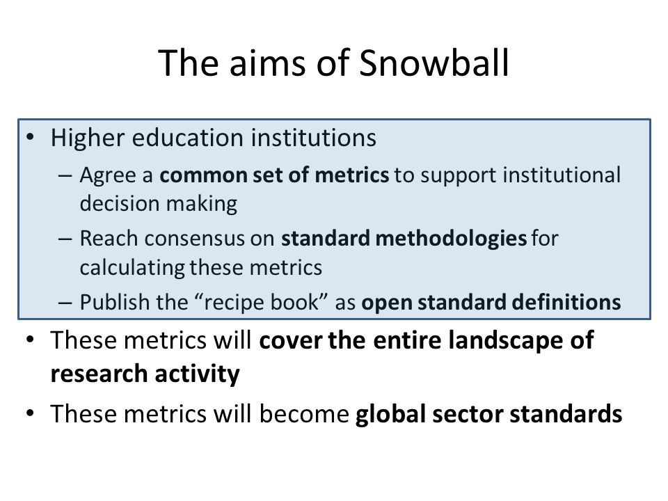 The aims of Snowball Higher education institutions – Agree a common set of metrics to support institutional decision making – Reach consensus on standard methodologies for calculating these metrics – Publish the recipe book as open standard definitions These metrics will cover the entire landscape of research activity These metrics will become global sector standards
