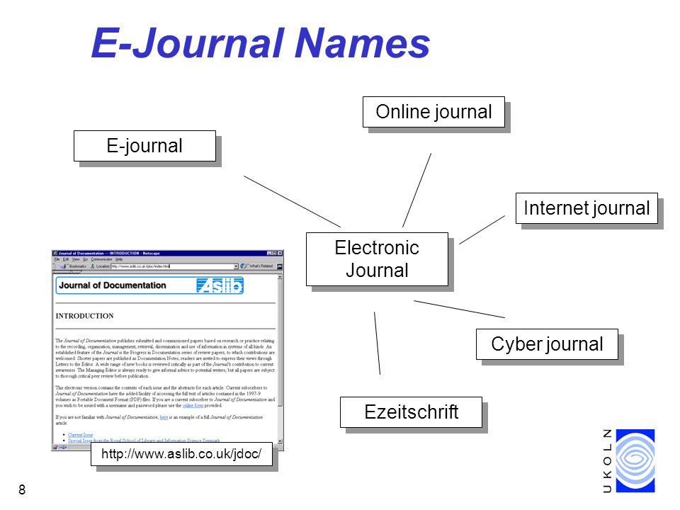 8 E-Journal Names Ezeitschrift E-journal Internet journal Cyber journal Online journal Electronic Journal http://www.aslib.co.uk/jdoc/