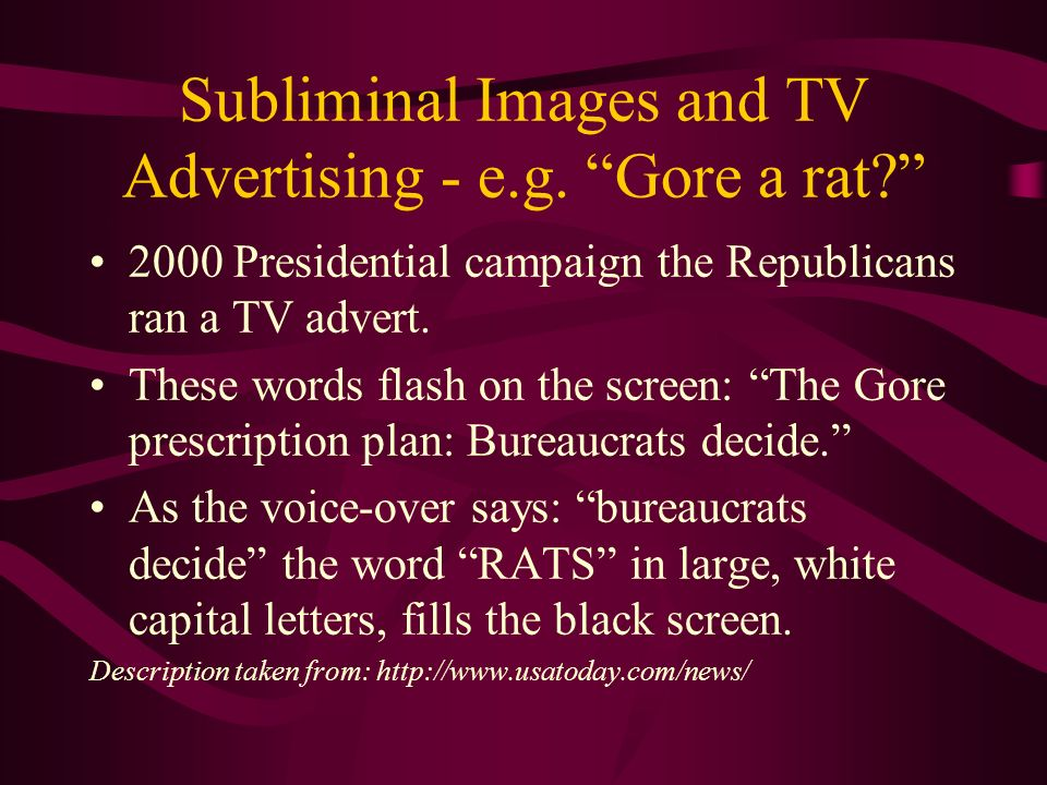 Subliminal Images and TV Advertising - e.g. Gore a rat.