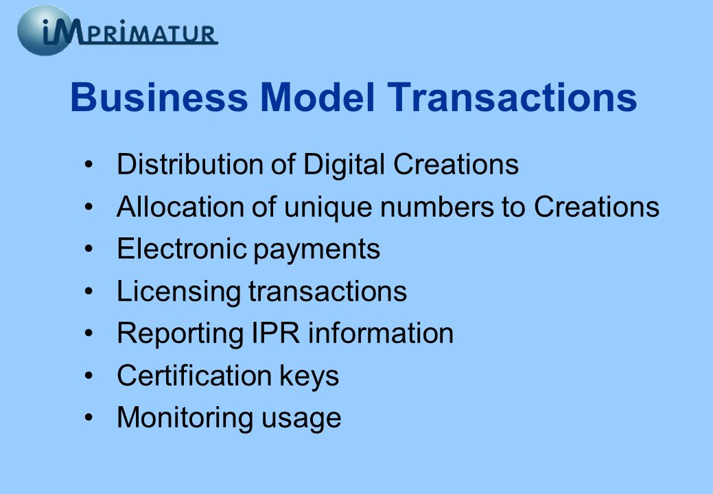 Business Model Transactions Distribution of Digital Creations Allocation of unique numbers to Creations Electronic payments Licensing transactions Rep
