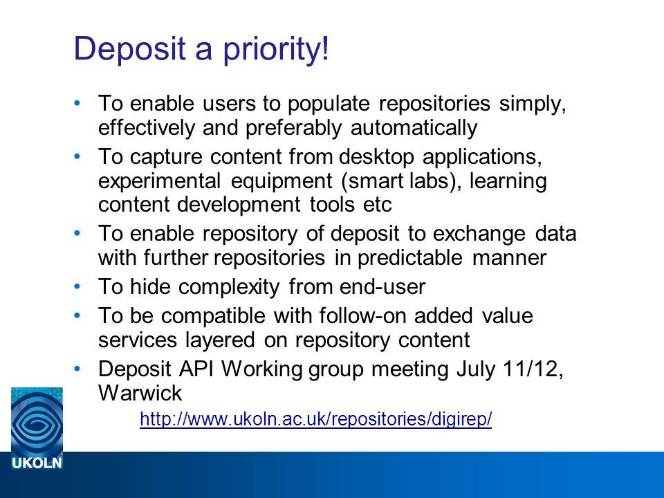 Deposit a priority.