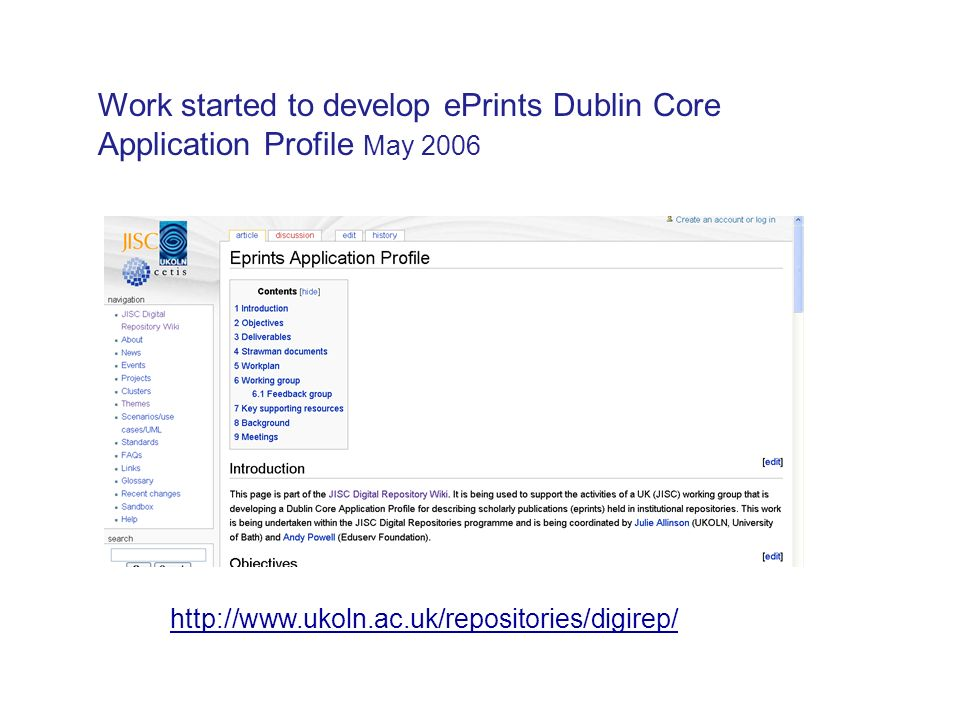 Work started to develop ePrints Dublin Core Application Profile May