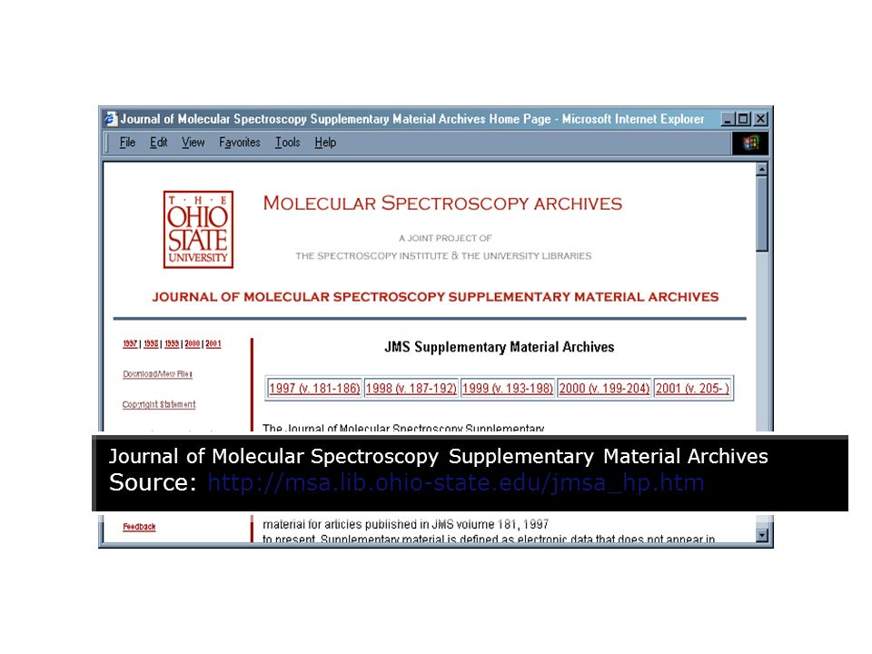 Journal of Molecular Spectroscopy Supplementary Material Archives Source: http://msa.lib.ohio-state.edu/jmsa_hp.htm