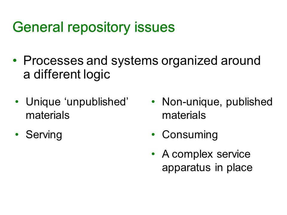 General repository issues Processes and systems organized around a different logic Unique unpublished materials Serving Non-unique, published material