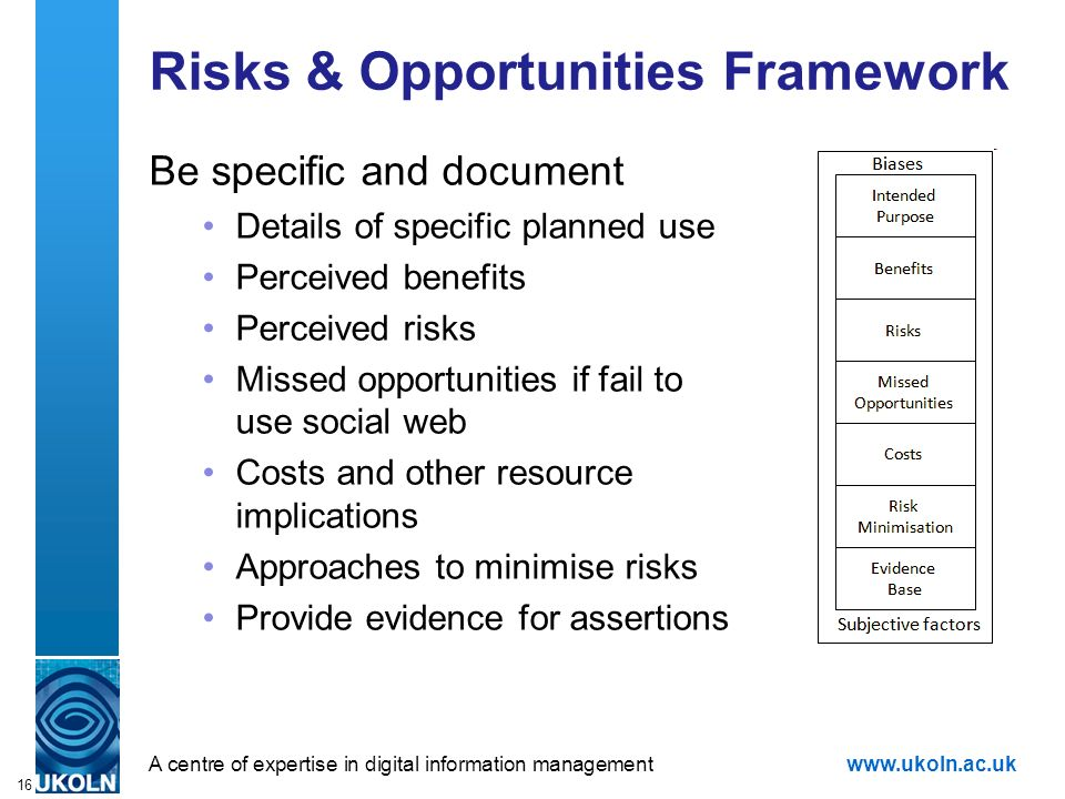 16 Risks & Opportunities Framework Be specific and document Details of specific planned use Perceived benefits Perceived risks Missed opportunities if