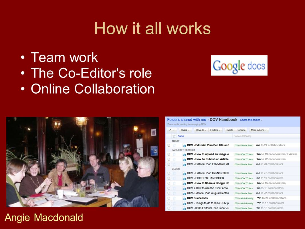 How it all works Team work The Co-Editor's role Online Collaboration Angie Macdonald