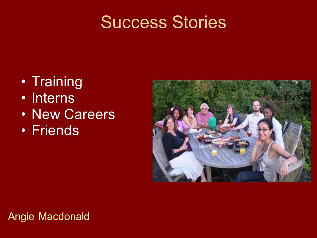 Success Stories Training Interns New Careers Friends Angie Macdonald