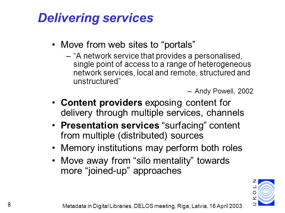 Metadata in Digital Libraries, DELOS meeting, Riga, Latvia, 16 April 2003 99 Description of Dublin Core Creator (RDF/XML) Creator An entity primarily responsible for making the content of the resource.