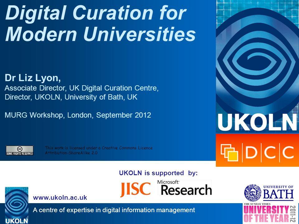 A centre of expertise in digital information management www.ukoln.ac.uk Data management plans