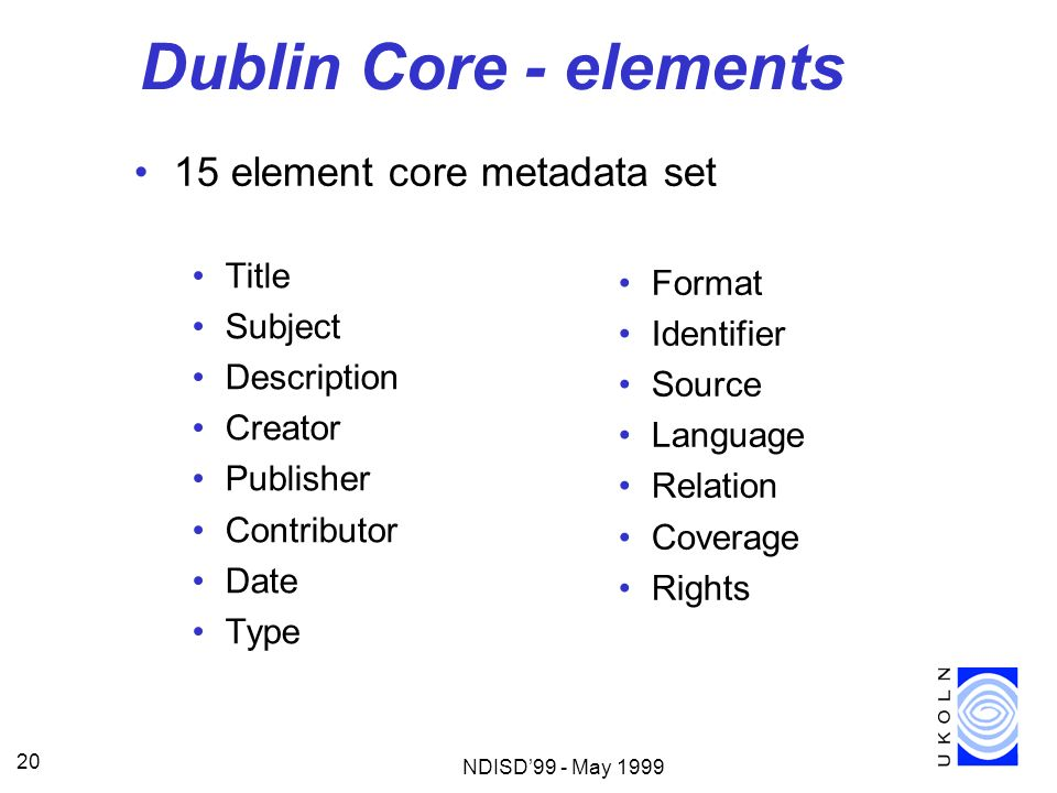 NDISD99 - May 1999 20 Dublin Core - elements Title Subject Description Creator Publisher Contributor Date Type Format Identifier Source Language Relat