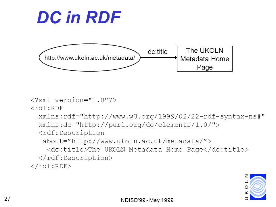 NDISD99 - May 1999 27 DC in RDF http://www.ukoln.ac.uk/metadata/ The UKOLN Metadata Home Page dc:title <rdf:RDF xmlns:rdf=