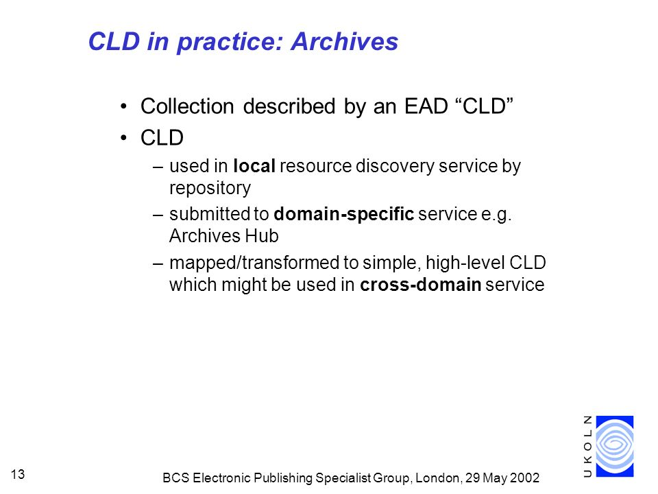 BCS Electronic Publishing Specialist Group, London, 29 May 2002 13 CLD in practice: Archives Collection described by an EAD CLD CLD –used in local resource discovery service by repository –submitted to domain-specific service e.g.