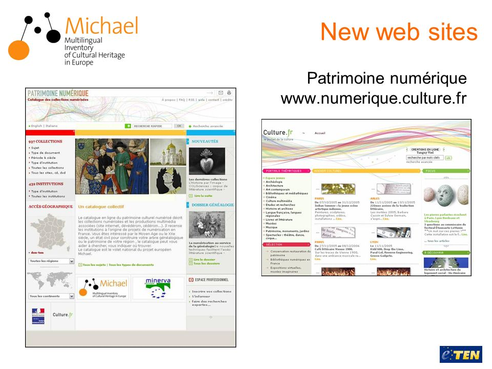 Patrimoine numérique www.numerique.culture.fr New web sites
