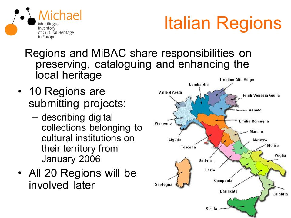 Italian Regions Regions and MiBAC share responsibilities on preserving, cataloguing and enhancing the local heritage 10 Regions are submitting projects: –describing digital collections belonging to cultural institutions on their territory from January 2006 All 20 Regions will be involved later