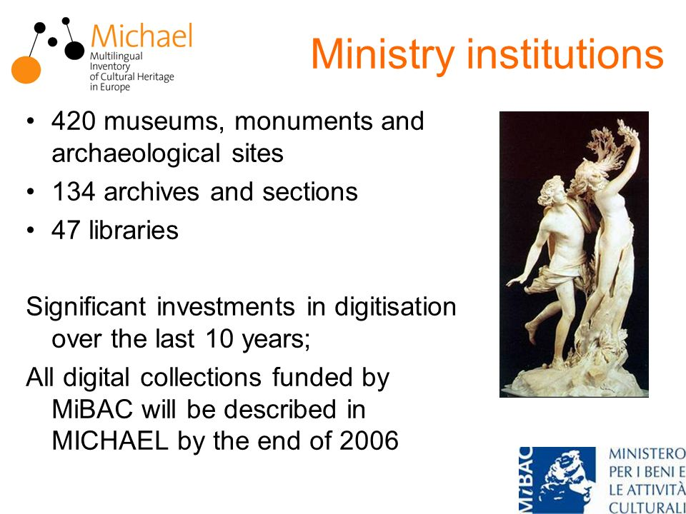 Ministry institutions 420 museums, monuments and archaeological sites 134 archives and sections 47 libraries Significant investments in digitisation over the last 10 years; All digital collections funded by MiBAC will be described in MICHAEL by the end of 2006