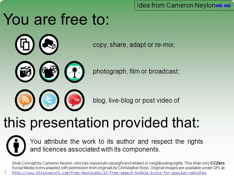 A centre of expertise in digital information managementwww.ukoln.ac.uk 3 3 You are free to: copy, share, adapt or re-mix; photograph, film or broadcas