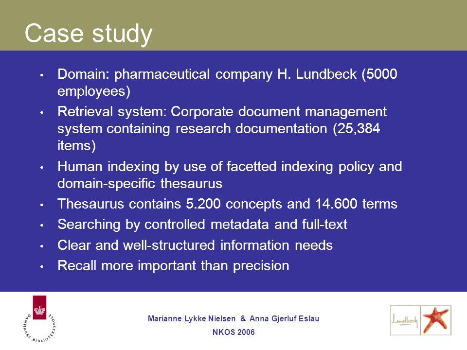 Marianne Lykke Nielsen & Anna Gjerluf Eslau NKOS 2006 Case study Domain: pharmaceutical company H.