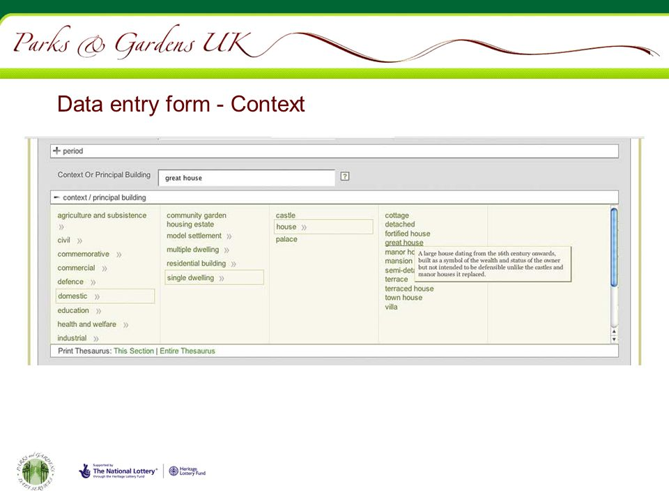 Data entry form - Context